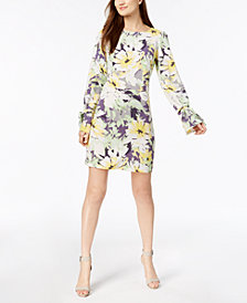 Nine West Floral Bell-Sleeve Shift Dress
