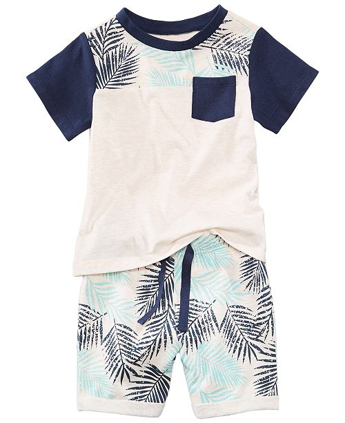 First Impressions Graphic-Print T-Shirt & Shorts Separates, Baby Boys, Created for Macy's