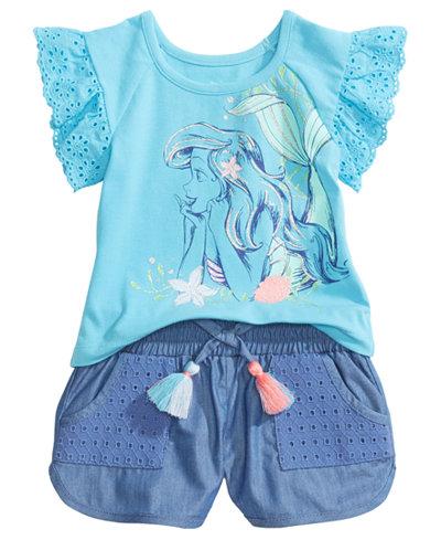 Ariel 2-Pc. Graphic-Print Top & Shorts Set, Baby Girls