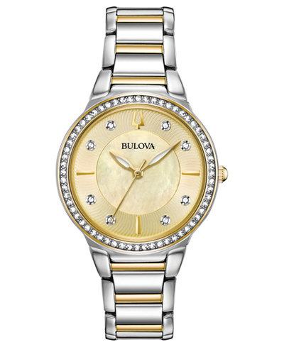 Bulova Women's Crystal Two-Tone Stainless Steel Bracelet Watch 32mm, Created for Macy's