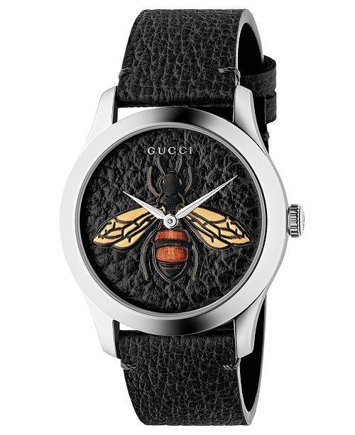 1b6e2e01ec0 ... Gucci Unisex Swiss G-Timeless Black Leather Strap Watch 38mm ...