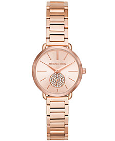 Michael Kors Women's Petite Portia Rose Gold-Tone Stainless Steel Bracelet Watch 28mm