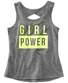 Ideology Graphic-Print Cutout-Back Tank Top, Little Girls, Created for Macy's