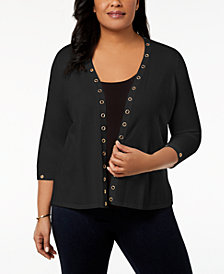 Belldini Plus Size Embellished Cardigan