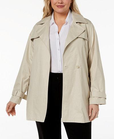 Calvin Klein Plus Size Single-Button Trench Coat