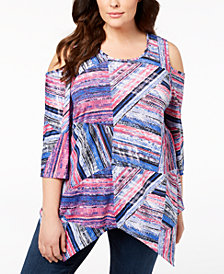 NY Collection Plus Size Cold-Shoulder Top