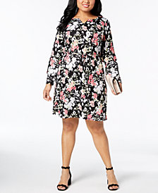 NY Collection Plus Size Ruffle-Trim Belted A-Line Dress