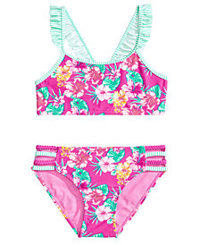Summer Crush 2-Pc. Floral-Print Ruffled Bikini, Big Girls