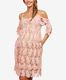 Motherhood Maternity Lace Cold-Shoulder Dress