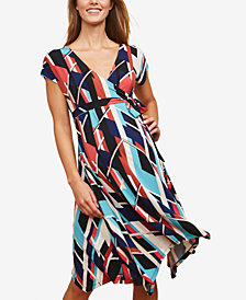Motherhood Maternity Printed Faux-Wrap Dress