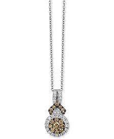 "Le Vian Chocolatier® Diamond Halo 18"" Pendant Necklace (3/8 ct. t.w.) in 14k White Gold"