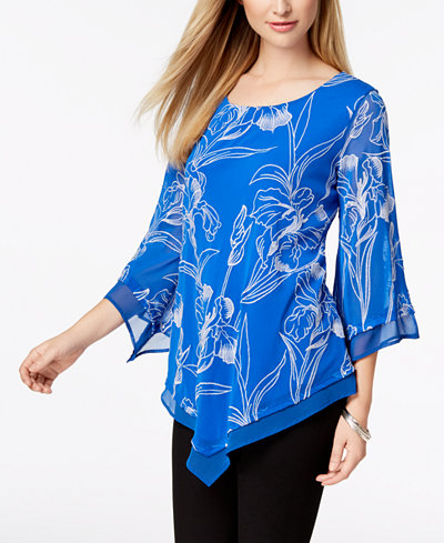 Alfani Embroidered Pointed-Hem Top, Created for Macy's