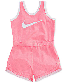 Nike Striped Swoosh Romper, Little Girls
