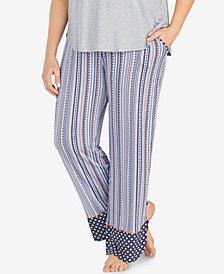 Layla Plus Size Printed Drawstring-Tassel Pajama Pants