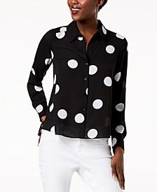 INC Polka-Dot High-Low Shirt, Created for Macy's