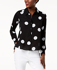 I.N.C. Polka-Dot High-Low Shirt, Created for Macy's