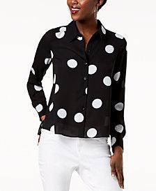 I.N.C. Polka-Dot High-Low Shirt, Created for Macy's