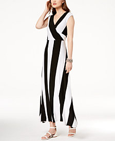 I.N.C. Striped Cap-Sleeve Maxi Dress, Created for Macy's