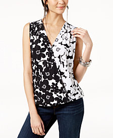 I.N.C. Petite Floral-Print Surplice-Neck Top, Created for Macy's