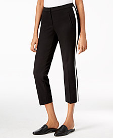 Alfani Racer-Striped Cropped Pants, Created for Macy's