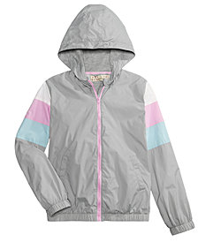 Pink Republic Colorblocked Front-Zip Hooded Jacket, Big Girls