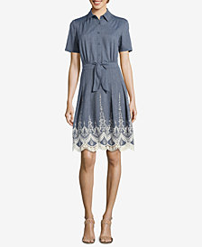 ECI Embroidered Denim Shirtdress