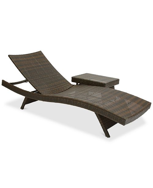Furniture Monterey Outdoor Chaise Lounge and Table Set, Quick Ship