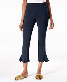 I.N.C. Ruffled-Hem Cropped Pants, Created for Macy's