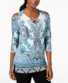 JM Collection Petite Printed Cold-Shoulder Keyhole Tunic, Created for Macy's