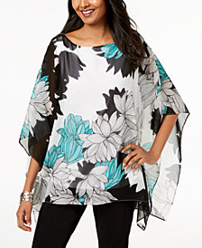 JM Collection Petite Floral-Print Poncho Top, Created for Macy's
