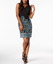 JM Collection Printed Lace-Up Dress, Created for Macy's