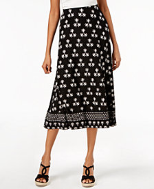 JM Collection Petite Printed Jacquard A-Line Skirt, Created for Macy's