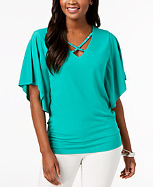 JM Collection Strappy Butterfly-Sleeve Top, Created for Macy's