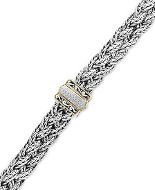 Balissima by EFFY® Diamond Braided Bracelet (1/10 ct. t.w.) in Sterling Silver & 18k Gold
