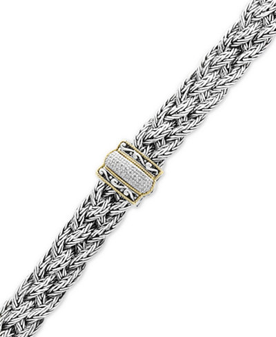 Balissima by EFFY® Diamond Braided Bracelet (1/10 ct. t.w.) in Sterling Silver & 18k Gold
