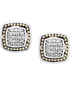 Balissima by EFFY® Diamond Cluster Stud Earrings (1/6 ct. t.w.) in Sterling Silver & 18k Gold