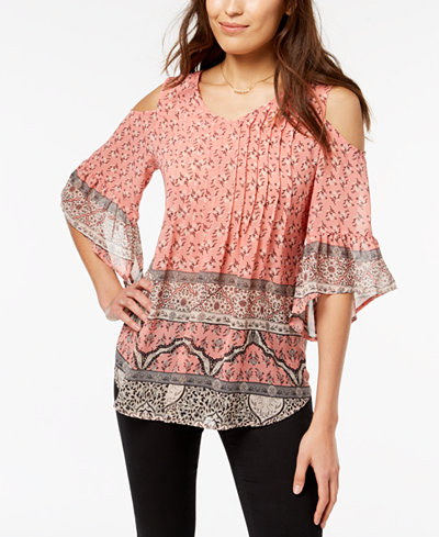 Style & Co Cold-Shoulder Pleated Top, Created for Macy's