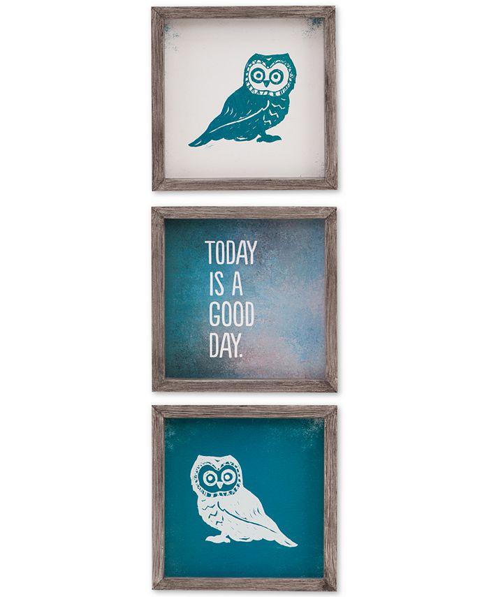 JLA Home - Intelligent Design Wise As An Owl Gel-Coated 3-Pc. Framed Print Set
