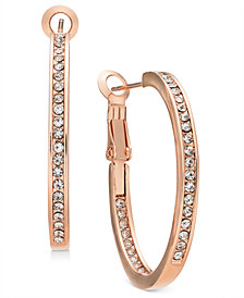 Essentials Silver Plated Crystal Inside Out Hoop Earrings