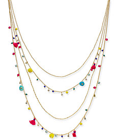 "I.N.C. Gold-Tone Multicolor Bead & Tassel Layered Necklace, 28"" + 3"" extender, Created for Macy's"