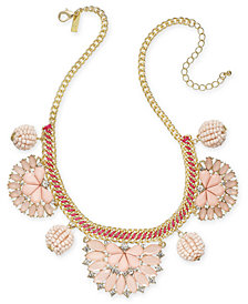 "I.N.C. Gold-Tone Stone & Crystal Statement Necklace, 18"" + 3"" extender, Created for Macy's"