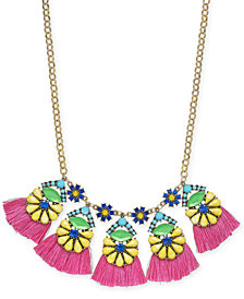 "I.N.C. Gold-Tone Multicolor Bead Flower & Tassel Statement Necklace, 18"" + 3"" extender, Created for Macy's"