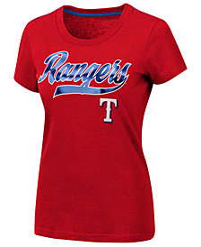 G-III Sports Women's Texas Rangers Script Foil T-Shirt
