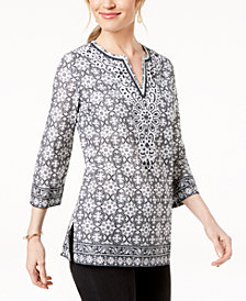 Charter Club Petite Cotton Split-Neck Tunic, Created for Macy's