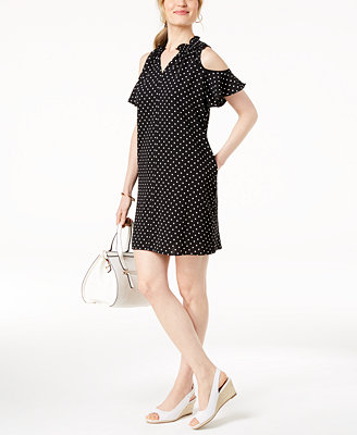 Cold Shoulder Polka Dot Dress, Created For Macy's by Charter Club