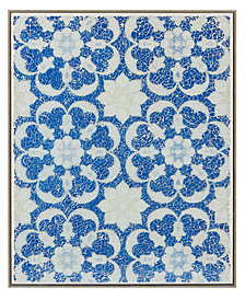 """Harbor House Mosaic Tile Floral 16"""" x 20"""" Crushed Glass Wall Art"""