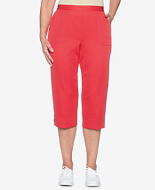 Alfred Dunner Petite Laced-Hem Pull-On Capri Pants