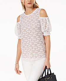 MICHAEL Michael Kors Lace Cold-Shoulder Top