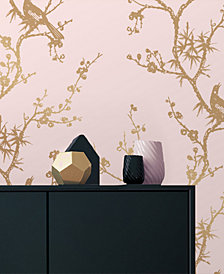 Cynthia Rowley for Tempaper Bird Watching Rose Pink & Gold Self-Adhesive Wallpaper