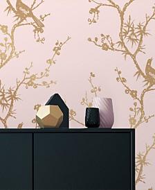 Cynthia Rowley for Tempaper Bird Watching Rose Pink & Gold Self-Adhesive Wallpaper